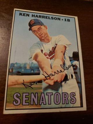 1967 Ken Harrelson Washington Senators vintage baseball card