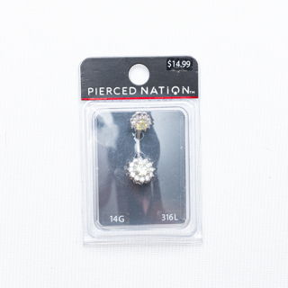 """Spencers """"Pierced Nation"""" 14G Rhinestone Belly Button Ring"""