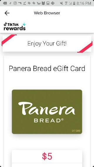5$ GIFT CARD TO PANERA