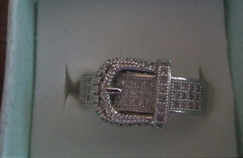 Buckle CZ Band Size 7 Stamped 925