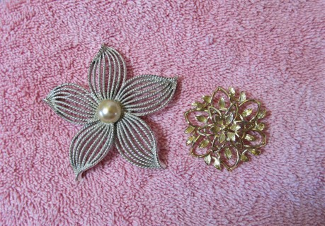 Lot of 2 Sarah Coventry Brooches Costume Fashion Jewelry Pins Brooch Silver Gold