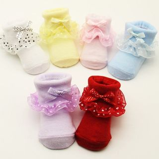 Toddler Baby Girls Cotton Cute Ankle Socks Dots Bowknot Lace Princess Socks