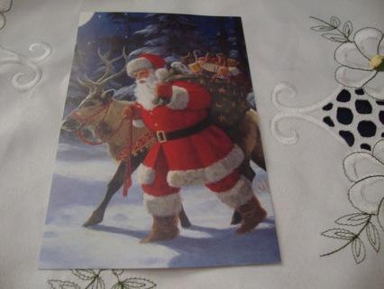 Santa walking with his reindeer ~ Vintage Style Postcard ~ Free Shipping