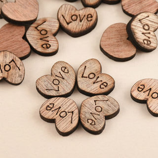 Free 100pcs Rustic Wooden Love Heart Wedding Table Scatter