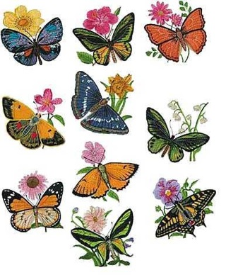 Free Butterflies And Flowers Embroidery Designss And Pes