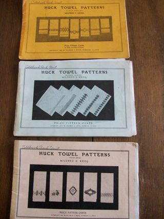 Free 3 Huck Towel Swedish Weaving Embroidery Pattern Books 1930s