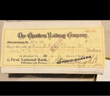 1905 Chartiers Railway Company Check
