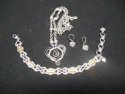 3 Brighton Jewelry..Necklace, Bracelet, Earrings