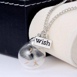 """New Dandelion Dried Flower Glass """"Wish"""" Wishing Bottle Necklace Pendant"""