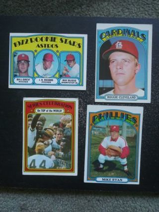 '72 Topps MLB Lot of 4 (Astros, Cardinals, Pirates, Phillies)