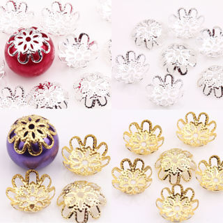 200PCs Silver Gold Plated Metal Flower Bead Caps 6mm Findings