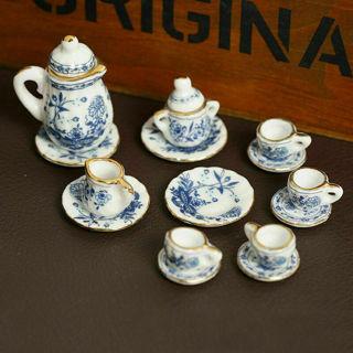 15Pcs/SET Dining Ware Ceramic Blue Flower Set For 1:12 Dollhouse Miniatures