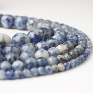 [GIN FOR FREE SHIPPING] Natural Agate Blue Dot Stones Round Loose Beads 15.5in DIY