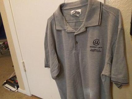 Men's collar shirt with unt logo grey