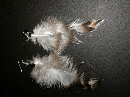 White and Black Handcrafted Feather Earrings