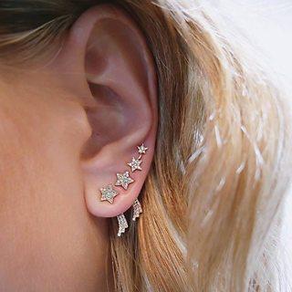 3 Pcs/set Women Classic Star Wings Crystal Geometric Gold Earrings Set Bohemian Retro Party Wedding