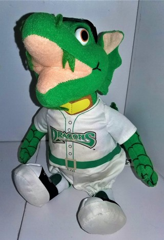 "Minor League Dayton (Ohio) Dragons stuffed mascot ""Heater"" - 8"" tall (seated) - VG condition"