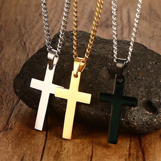 Unisex's Men Women Gold Silver Cross Necklace Pendant Chain Fashion Jewelry Gift