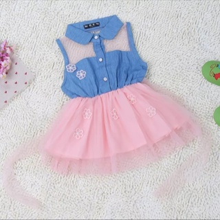 0bf82a3d5 Free  2015 baby girls princess part dress denim tulle lace gown tutu ...