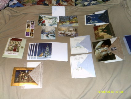 17 CHRISTMAS HOLIDAY CARDS 7 STICKERS  LOW GIN