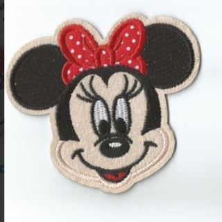 1 NEW MINNIE MOUSE HEAD PATCH IRON ON PATCH EMBROIDERED ADHESIVE ACCESSORIES