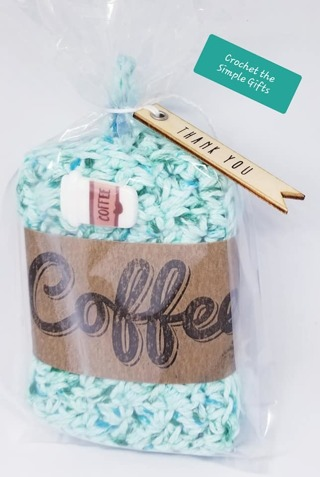 CROCHET 3 YES 3 COFFEE COZIES WRAPPED FOR GIFT GIVING