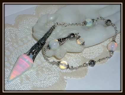Amazing OOAK OPALITE Sterling Silver PENDULUM! Enhances Intuitive Abilities = Clear Answers!