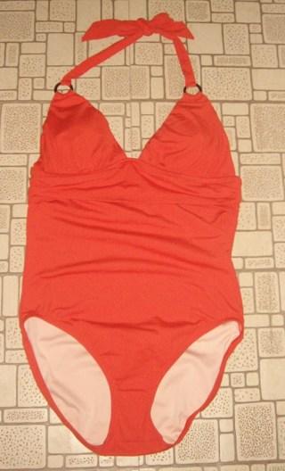WOMENS Size 10 NEW LANDS END Orange CANVAS 1 PC SWIMSUIT Size 10 Medium