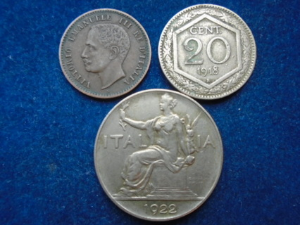 1903 1918 & 1923 ITALY OLD COINS..FULL BOLD DATES!