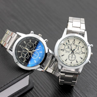 Mens Casual Business Alloy Band Quartz Analog Wrist Watch Hook Buckle Watches