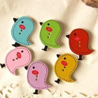 [GIN FOR FREE SHIPPING] 50PCs Mixed Wood Sewing Buttons Scrapbooking Cartoon Bird