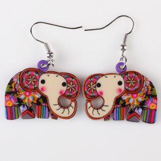 Bonsny Drop Elephant Earrings Acrylic Pattern Long Danlge Earrings Charm Animal New 2016 Fashion
