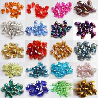 20PCs 8x12mm Faceted Glass Crystal Charm Finding Loose Spacer Teardrop Beads