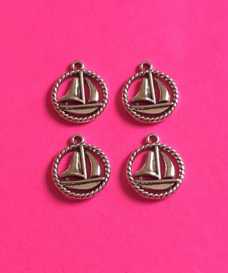New 4 Sailboat with rope circle charms