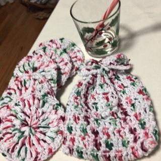 Holiday Cotton Facial Scrubs in a Sack .