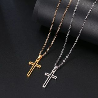 Stainless Steel Necklace For Women Lover's Gold And Silver Color Chain Cross Necklace
