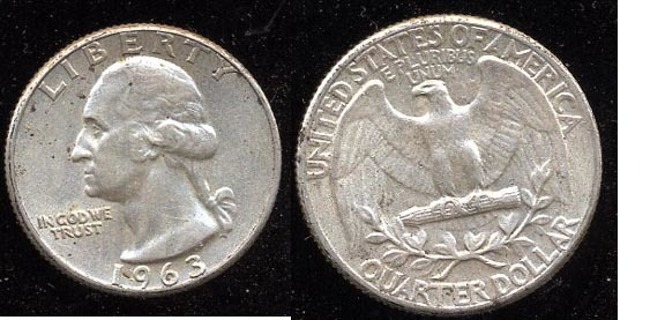 1963 Washington Quarter 90% Silver