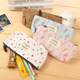 Cute Flower Canvas Pencil Case Cosmetic Makeup Coin Pouch Zipper Bag Purse
