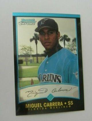 2001 bowman chrome#259 miguel cabrera-marlins-rookie card-rc-mt-uncorrected error-denny bautista