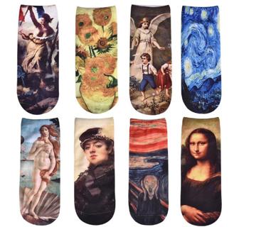 Oil Painting Socks Women's Socks Sunflower Mona Lisa Van Gogh Ankle Socks Novelty Casual Short Meias