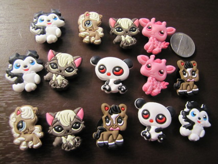 "Lot of 14 Littlest Pet Shop Croc Charms ""Jibbitz"""