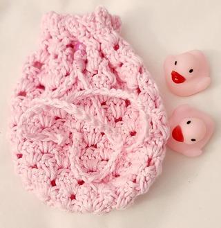 Crochet Pull String Gift Bag,or SOAP BAG FOR SHOWER OR BATH***LQQK***CUPCAKE