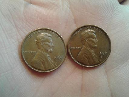 **1969 D & 1969 S Pennies**