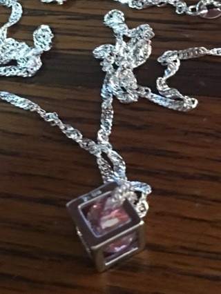 Sterling Silver Stamped 925 Cube Pink Stone Necklace
