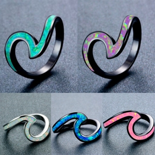 New Creative Fashion Women Jewelry Silver Wave Fire Opal Wedding Ring