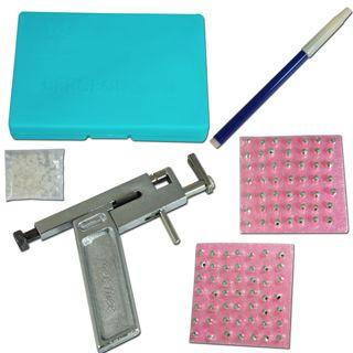 NEW W/ 98 studs! Professional Ear Nose Navel Body PIERCING GUN Tool Kit set CASE