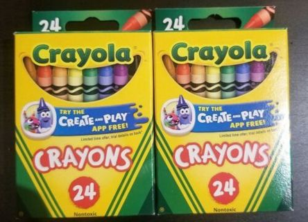 2 Crayola Colored Crayons 24ct. NEW