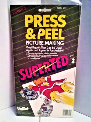 "1985 Press & Peel SuperTed - Series 2- vinyl stickers on 6 1/2"" X 11 3/4"" scene made in Denmark  NIP"