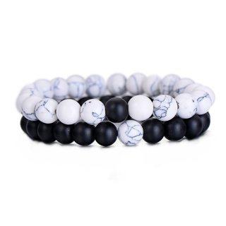 Classic Natural Stone Bracelet Yin Yang Beaded Wristlet Men Women Best Friend