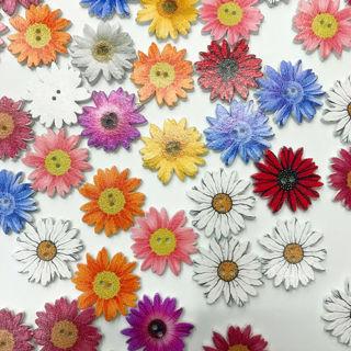 50Pcs 25mm DIY 2-holes Decoration Button Flowers Wooden Fit Sewing Scrapbooking